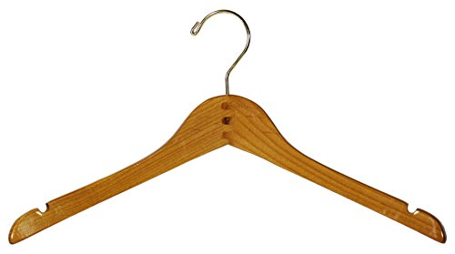 Curved Petite Top Hanger in Honey Finish with Notches and Brass Hook by The Great American Hanger Company by The Great American Hanger Company