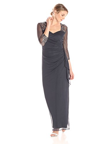 Alex Evenings Women's Long Dress with Beaded Illusion Neckline, Charcoal, 12