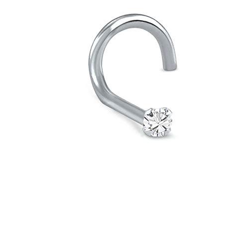 Titanium Left Nostril Screw Nose Ring 1.5mm Round Stone Clear 20G
