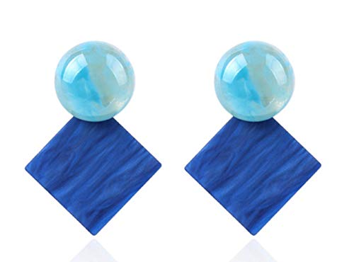 (Siam Jew Square Statement Earrings 2018 Acrylic Geometric Gem Stone (Ocean Blue))