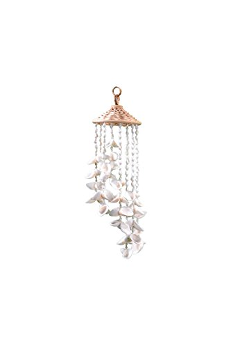 Beach Shells Wind Chime with Ratton Hat 4x18, Decorative Outdoor White Seashells Windchime, Unique Tropical Wind Chimes by The Seashell Company