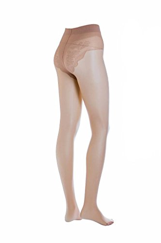 Conte elegant Bikini Women's 40 Denier Sheer Pantyhose with Decorative Laced Panties - Nude (Natural), Large