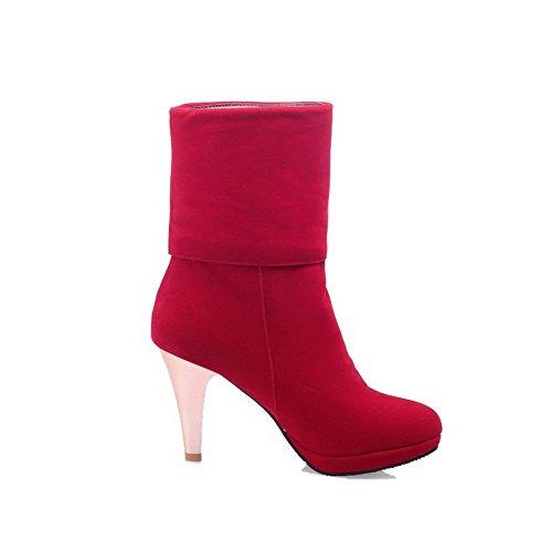 AllhqFashion Mujer Sin cordones Puntera Redonda Tacón Alto Gamuza(Imitado) Sólido Botas Rojo