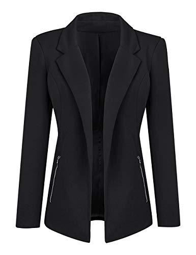 Luyeess Women Casual Long Sleeve Open Front Cardigan Office Work Zip Blazer Suit