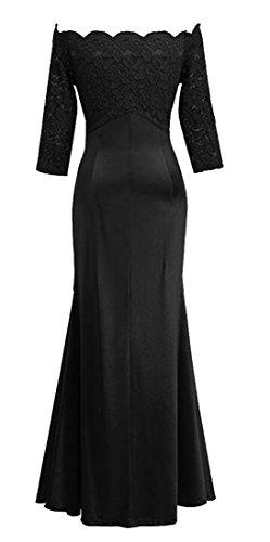 Lace Formal Sleeve Long Maxi Floral Vintage Dress Off Black Women's Jaycargogo Shouler Z4xFXpxq