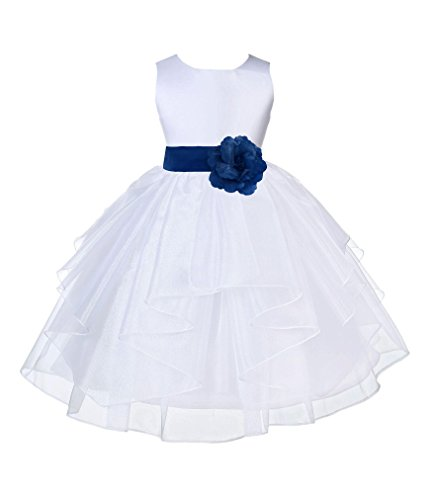 Wedding Pageant White Shimmering Organza Flower Girl Dress 4613S 2 -