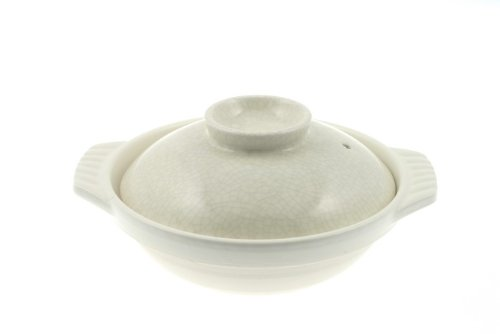 Ivory and Black Crackle 8-1/2-Inch Donabe Japanese Hot Pot, Serves 2 People by Kotobuki