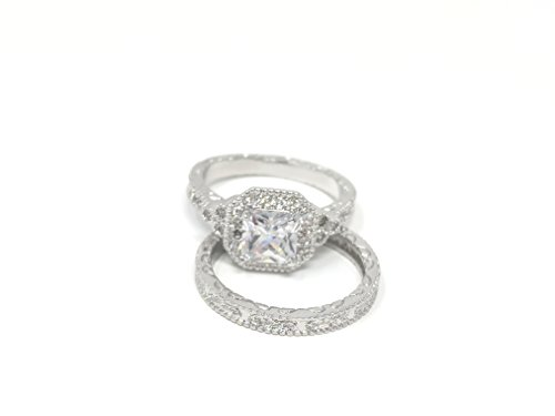 Wedding Sets Antique (FB Jewels Platinum Plated Asscher-Cut Cubic Zirconia Antique Ring Set (4.5 cttw) Size 6)