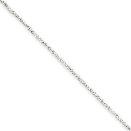 1.1mm, 14 Karat White Gold, Ropa Chain - 20 - Ladys Chain Gold White