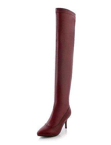 De 5 us7 Y Noche Rojo Zapatos Botas Cn35 Tacón Mujer Black La 5 Fiesta us5 Red Eu36 Uk5 5 Vestido Cn38 5 Xzz A Moda Semicuero Negro Stiletto Uk3 Eu38 x5Sq17P1w