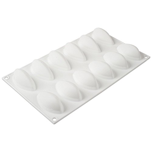 Silikomart Professional White Non-Stick Quenelle Mold 12 Cavities