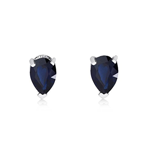 (FB Jewels Solid 14k White Gold Studs Genuine Blue Birthstone Sapphire Pear-Shaped Earring (3/5)