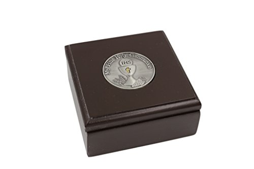 First Holy Communion 3 Inch Brown Wood with Pewter IHS Chalice Rosary Keepsake Box