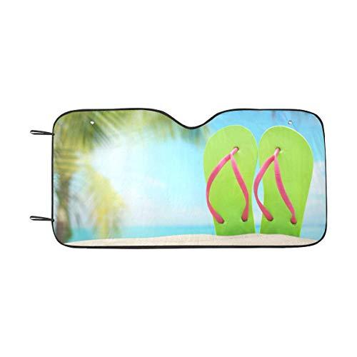 - InterestPrint Summer Flip Flops on Sand Beach Windshield Sunshade for Car SUV UV Ray Protector Auto Front Window Sun Shade, 55