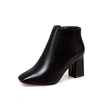 HRCxue Zapatos de la Corte Botines de tacón Alto Salvaje Negro Cabeza Cuadrada Hembra tacón Grueso