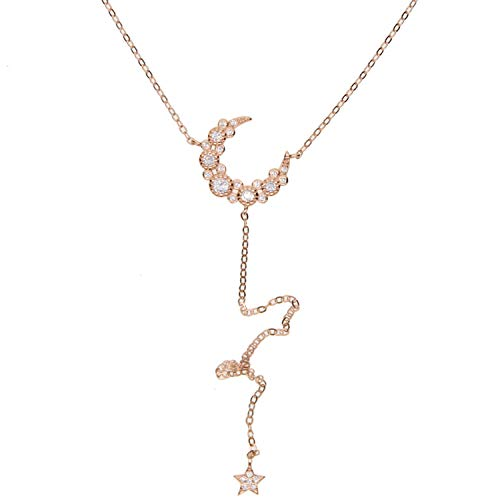 Moon Star Charm Long Sexy Women Lariat Y Shape Necklace Silver Rose Gold Color ()