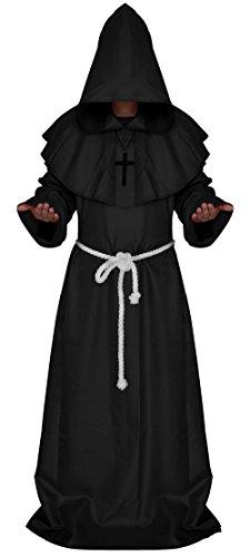 Dora Bridal Men's Medieval Monk Costume Hooded Priest Renaissance Robe Halloween Cosplay Cloak Party Cape Black (Dora Costume Man)