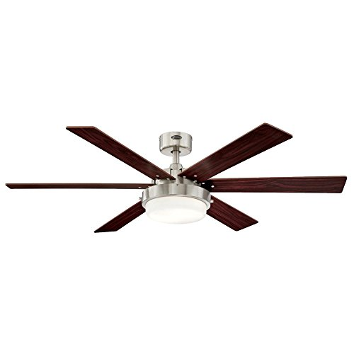 Westinghouse 7205100 Contemporary Alloy II 52 inch Brushed Nickel Indoor Ceiling Fan, Led Light Kit with Opal Frosted Glass by Westinghouse