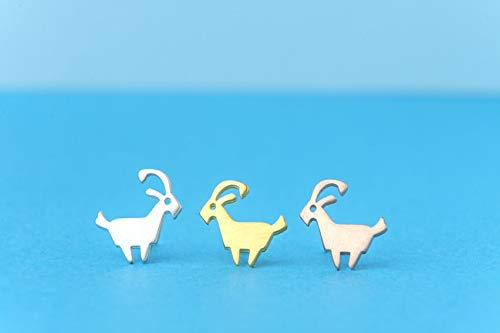Goat earrings in 14k solid gold Ram Aries stud earrings Rose Gold Pet 0.0011