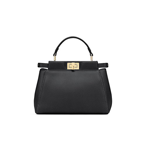 Fendi Womens Tote (Fendi Mini Peekaboo Black Leather Handbag Made in Italy)