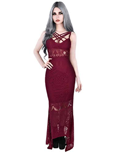 Beloved Dress Weinrot Deadly Killstar Maxi Maxi Kleid awHttOqf