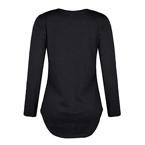 Ximandi Womens Casual V Neck Strap Neck Long Sleeve T-Shirt Loose Top Blouse by Ximandi (Image #2)