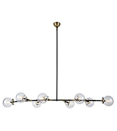 Elegant Lighting 1507G66BB Leda - Eight Light Adjustable Chandelier, Burnished Brass/Flat Black Finish with Clear Glass (10' Brass Polished Glass)