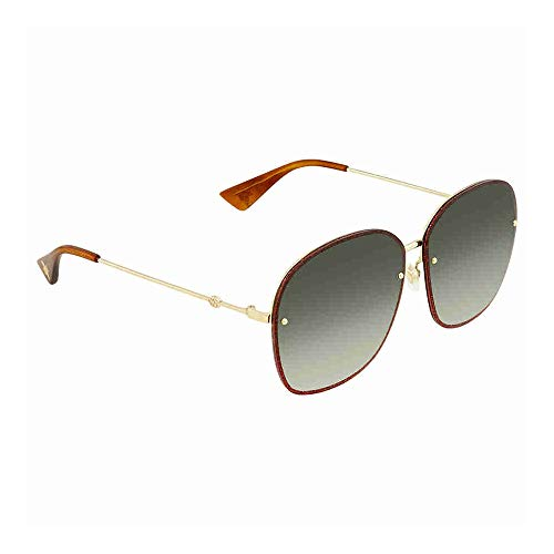 34d5b0e278 Gucci GG 0228S 001 Gold Metal Oval Sunglasses Green Gradient Lens