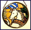 - Decorative Hand Painted Stained Glass Window Sun Catcher/Roundelette in an Edinburgh Unicorn Design.
