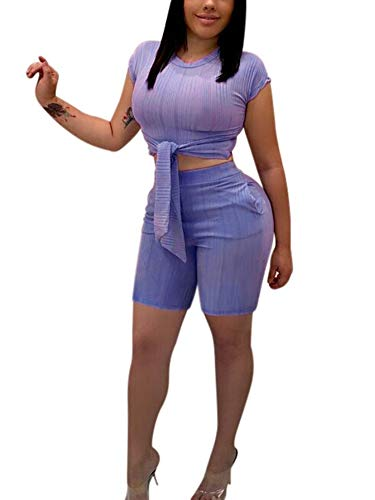 Succi Women's 2 Piece Tracksuits Outfits Round Neck Short Sleeve Tie Front Waist Crop Top High Waist Skinny Shorts with Slant Pockets Jumpsuits Rompers Purple XL