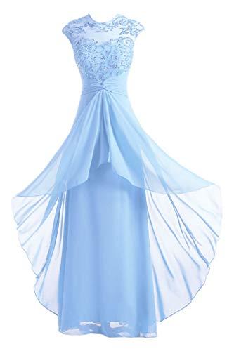 DINGZAN Jewel Neck Beaded Chiffon Wedding Reception Party Dresses Long 8 Light Sky Blue