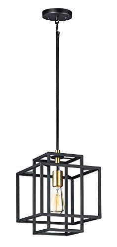 - Maxim Lighting 10246 Single Pendant, Black/Satin Brass