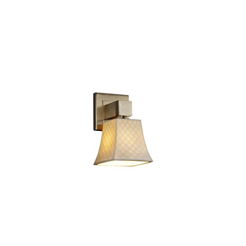 Justice Design Group Limoges 1-Light Wall Sconce - Brushed Nickel Finish with Checkerboard Translucent Porcelain Shade