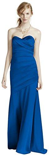 Long Strapless Stretch Satin Bridesmaid Dress Style F15586 – Horizon