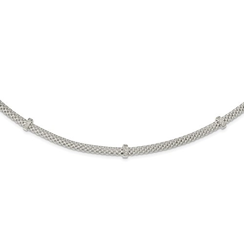 925 Sterling Silver Link Mesh Cubic Zirconia Cz Stations 1 Inch Extension Chain Necklace Pendant Charm Fine Jewelry For Women Gift Set ()
