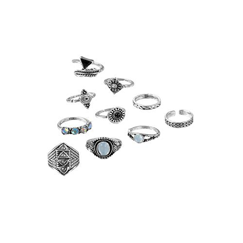 pretty-gentle52654 10 Pcs/Set Vintage Leaves Triangular Opal Midi Hollow Gem Rings Set Women Charm Joint Ring,Silver