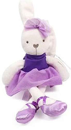 Houzini Soft Plush Ballerina Bunny Doll with a Purple Dress and Ballerina Slippers