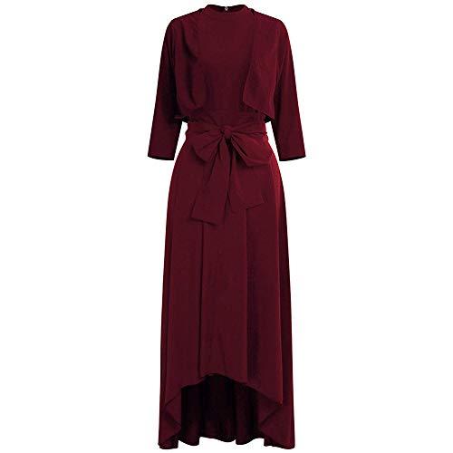 YuShang Women Elegant Bolero Jacket+ Belt + Dress Asymmetrical Long Dresses Cocktail Gown FormalEvening Party Dress (Wine Red, S)