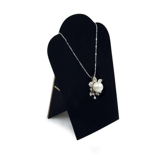4 Black Velvet Padded Necklace Pendant Display Easels 3 3/4