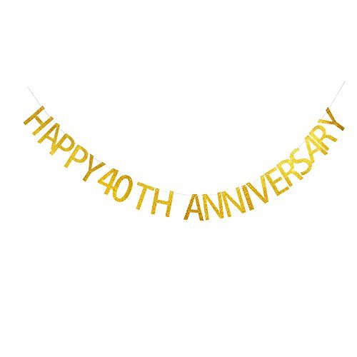 (Happy 40th Anniversary Banner, Gold Gliter Paper Garland Bunting Sign for Anniversary/Wedding Anniversary Party Decoration)