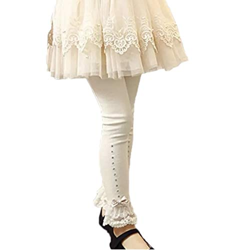 2304821882 Lace and Bow Ruffle Capri and Full Length Lace Toddler Girl Leggings.  (Cream Ankle