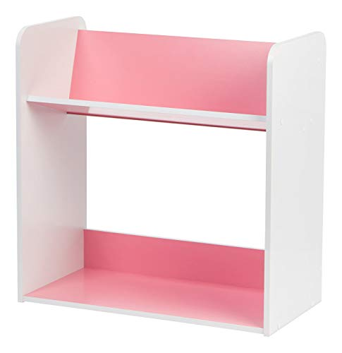 IRIS 2-Tier Tilted Shelf Book Rack, Pink and White