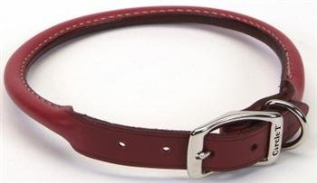 Coastal Pet Products DCP120618RED Leather Circle T Oak Tanned Round Dog Collar, 18 by 3/4-Inch, Red