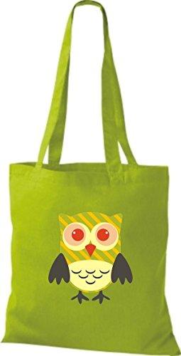 ShirtInStyle Jute Stoffbeutel Bunte Eule niedliche Tragetasche mit Punkte Karos streifen Owl Retro diverse Farbe, braun lime