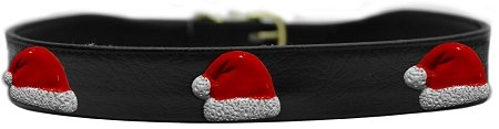 Chipper Santa Hat Dog Collar Black Size 16