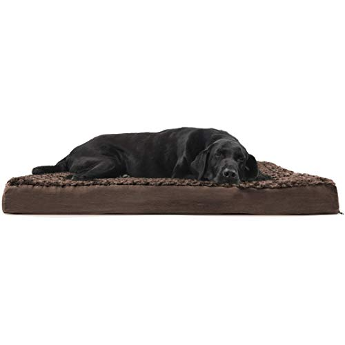 FurHaven Pet Dog Bed | Deluxe Orthopedic Ultra Plush Mattress Pet Bed for Dogs & Cats, Chocolate, Jumbo (Renewed)