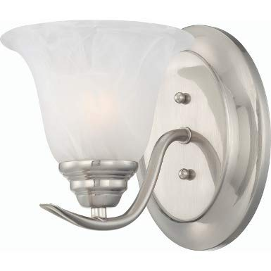 Lighting Bath Curves - Volume Lighting V5231 Trinidad 1-Light Indoor Bath or Vanity Wall Sconce or Wall Mount with Alabaster Glass Bell Shade Brushed Nickel