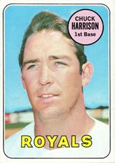 1969 Topps Card (1969 Topps Regular (Baseball) Card# 116 Chuck Harrison of the Kansas City Royals VGX Condition)