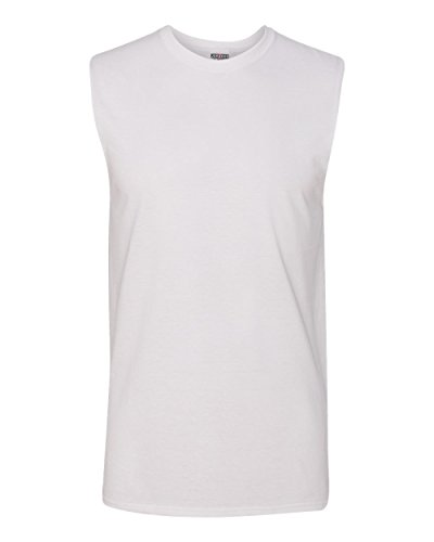 Jerzees Men's Advance Performance Sleeveless T-Shirt, White, Large