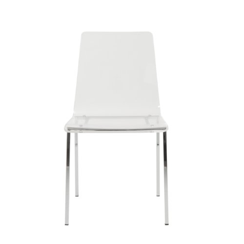 Euro Style Chloe Clear Acrylic Side Chair with Chomed Base, Set of (Chloe Side Chair)